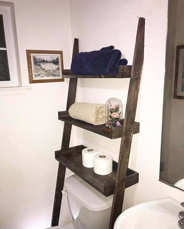 Attractive Rustic Bathroom Shelf Ladder – Elon's QH55
